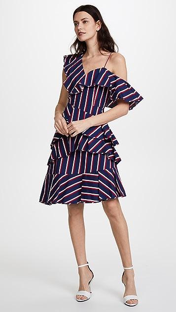alice + olivia Laflora Asymmetrical Ruffle Midi Dress