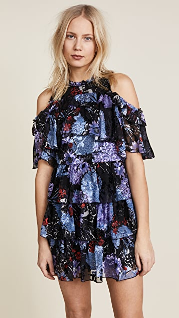 alice + olivia Nichola Cold Shoulder Ruffled Party Dress