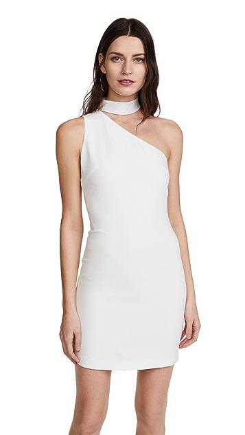 alice + olivia Soshana Collar One Shoulder Dress