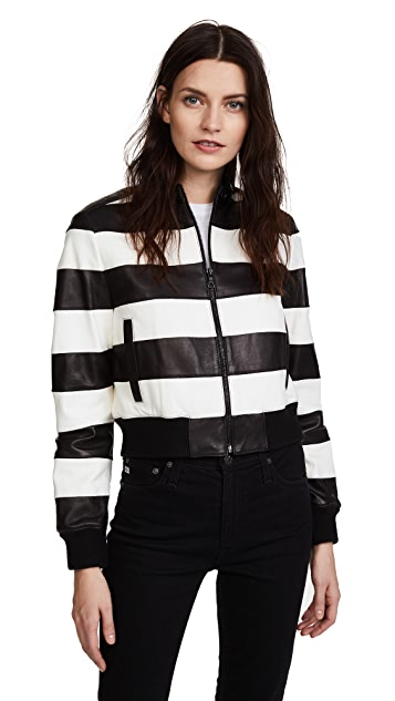 alice + olivia Nixon Mock Collar Leather Jacket