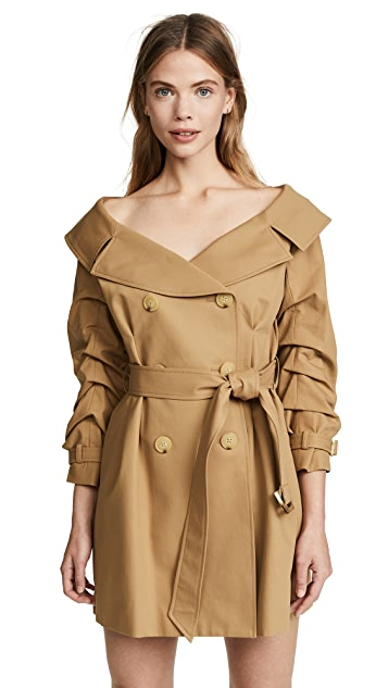 alice + olivia Candace Off Shoulder Trench Coat