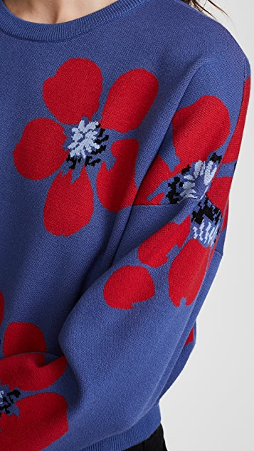 alice + olivia Leena Floral Crop Sweatshirt