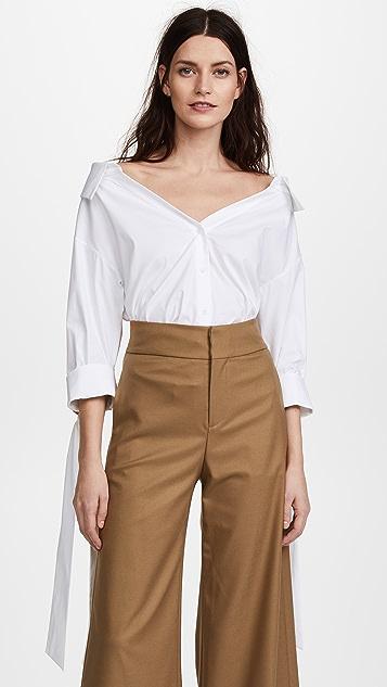 alice + olivia Judith Tie French Cuff Button Down - White