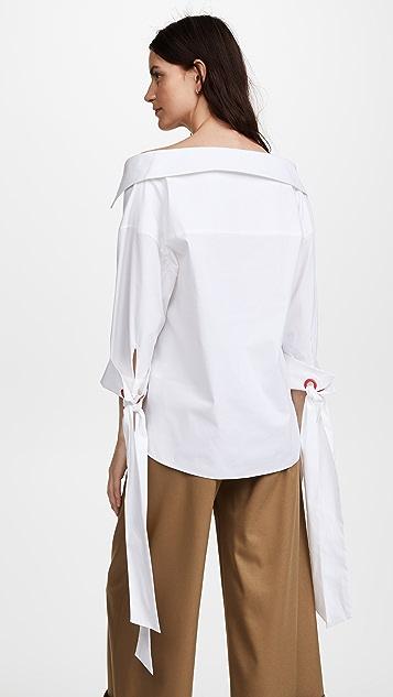 alice + olivia Judith Tie French Cuff Button Down