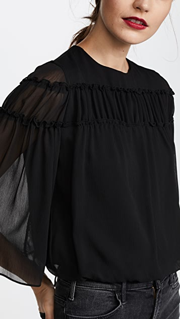 alice + olivia Shanna Bell Sleeve Ruffle Top