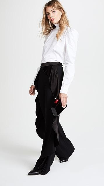 alice + olivia Wallace Side Ruffle Pants