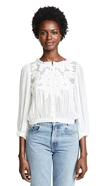 alice + olivia Lavone Cropped Blouse