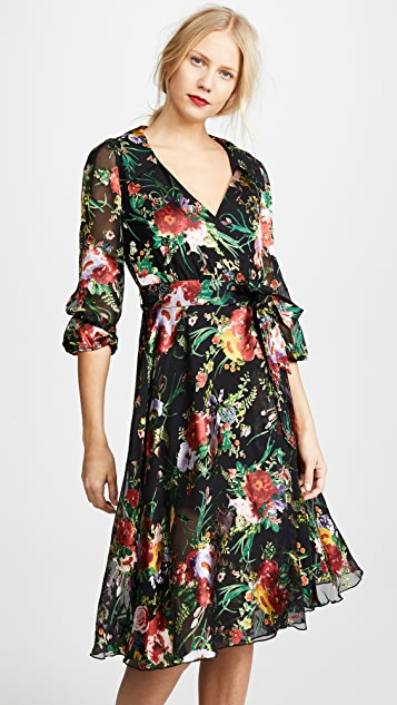 alice + olivia Abney Wrap Shirt Dress - Blooming Bouquet