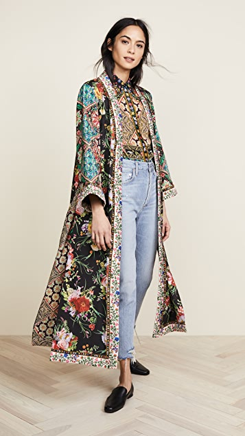 alice + olivia Lynn Long Kimono with Side Slits