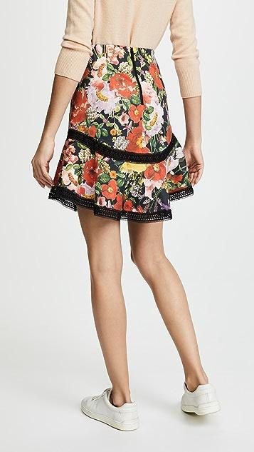 alice + olivia Eriko Curved Hem Skirt