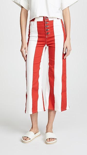 alice + olivia Jonelle Jeans - Sixties Stripe/Poppy