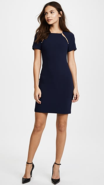 alice + olivia Kristiana Fitted Dress with Imitation Pearls