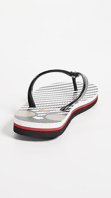 alice + olivia Eva Striped Flip Flops