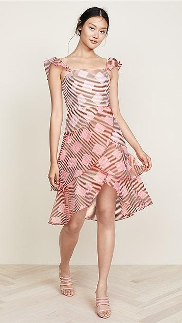 alice + olivia Azura Waterfall Ruffle Dress