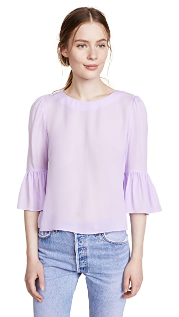 alice + olivia Bernice Ruffle Sleeve Top