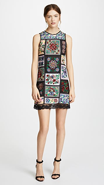 alice + olivia Marcelina Embroidered Dress