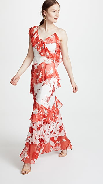 alice + olivia Olympia Asymmetrical Maxi Dress