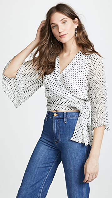 Bray Pleat Sleeve Wrap Top by Alice + Olivia