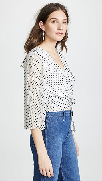 alice + olivia Bray Pleat Sleeve Wrap Top