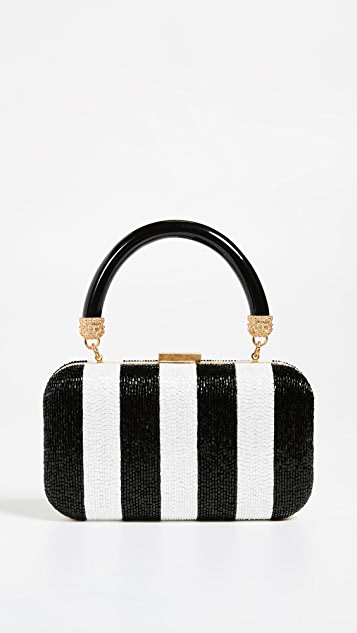 alice + olivia Shirley Embroidered Stripes Clutch