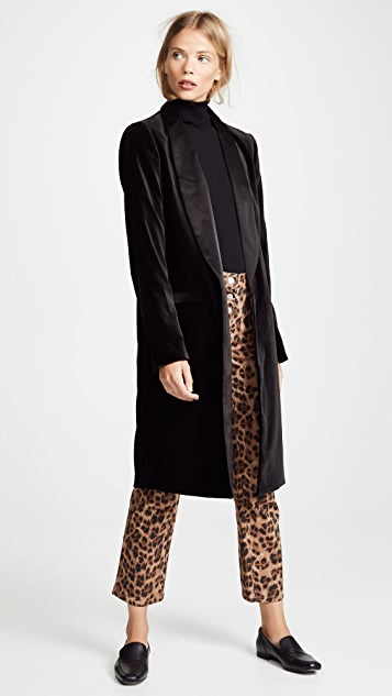 alice + olivia Kylie Long Velvet Jacket