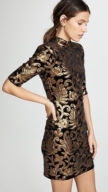 alice + olivia Inka Sequin Strong Shoulder Dress