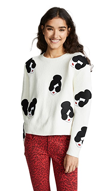 alice + olivia Gleeson Stace Face Pullover Sweater