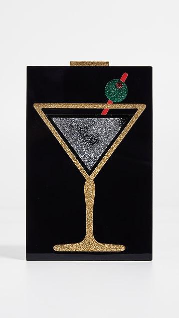 alice + olivia Martini Glitter Lucite Clutch