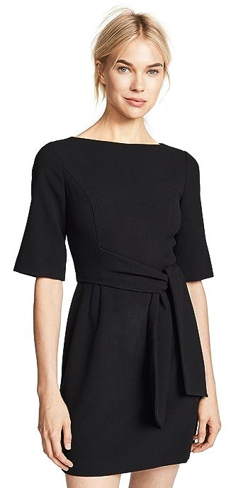 alice + olivia Virgil Boat Neck Wrap Dress - Black