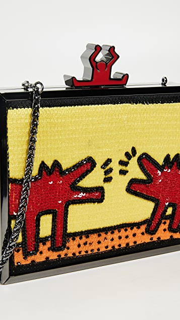 alice + olivia x Keith Haring Abbey Embellished Clutch