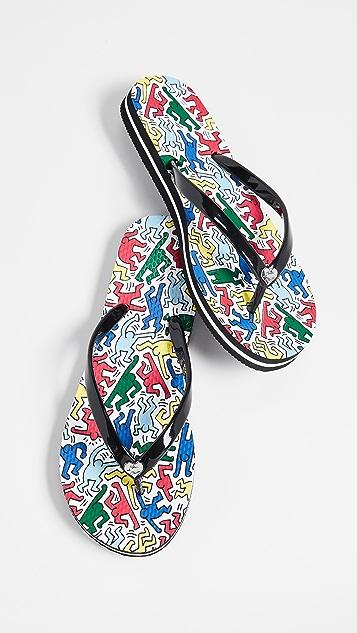 alice + olivia x Keith Haring Eva 42 Flip Flops