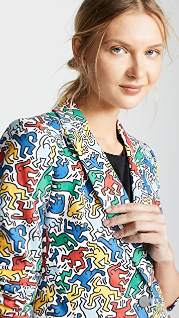 alice + olivia Keith Haring Macey Printed Fitted Blazer