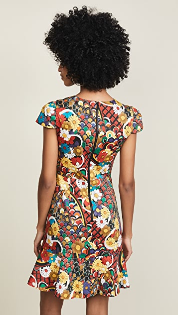 alice + olivia Kirby Ruffle Short Sleeve Dress