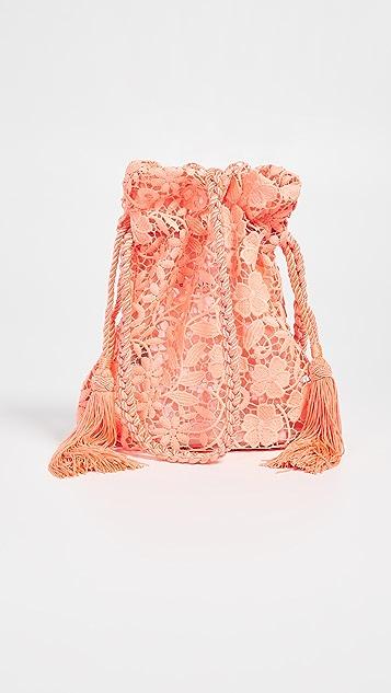 alice + olivia 绳索荧光色蕾丝斜挎手包
