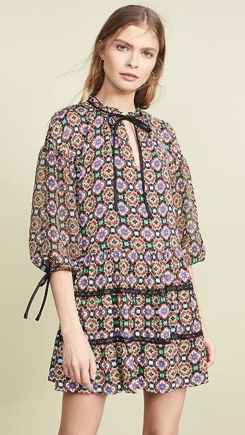 alice + olivia Arnette Tiered Tunic Dress - Palace Tile Multi