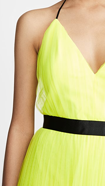 alice + olivia Bitsy Pleated Tea Length Gown