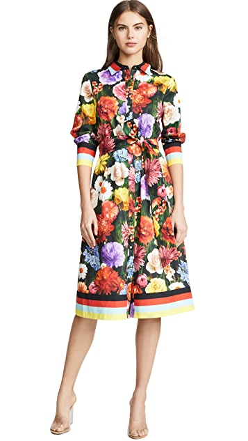 alice + olivia Hiroko Blouson Sleeve Shirt Dress