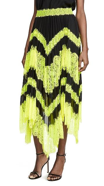 alice + olivia Katz Sunburst Pleated Insert 中长半身裙