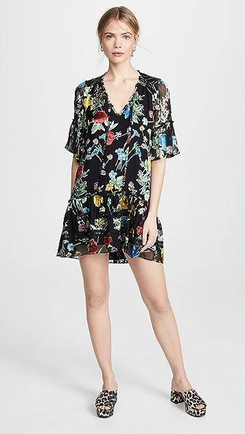 alice + olivia Pauline Ruffle Tunic Dress