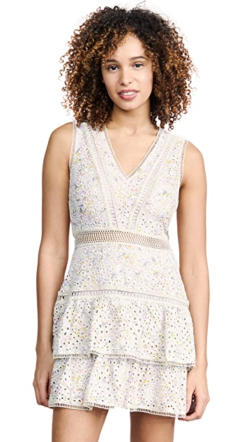 alice + olivia Tonie Embroidered Eyelet Dress