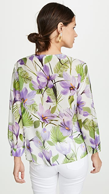 alice + olivia Colby Draped Button Down Top
