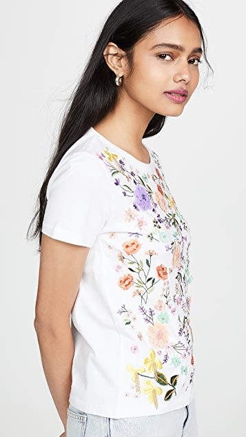 alice + olivia Rylyn Embellished Crew Neck Top