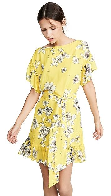 alice + olivia Платье Ellamae с заниженными плечами и оборчатыми рукавами