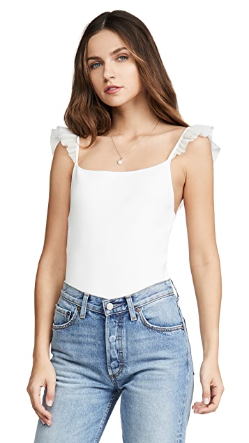 alice + olivia Marg Ruffle Strap Crop Top