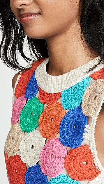 alice + olivia Reva Medallion Crochet Shell