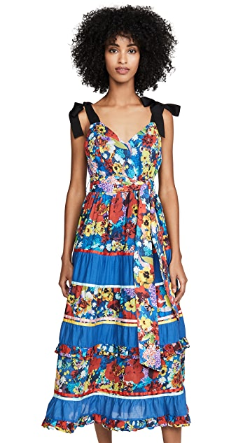 alice + olivia Gayla Tiered Midi Dress