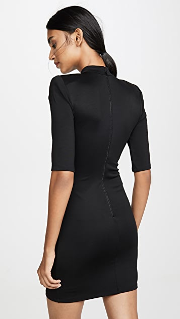 alice + olivia Inka Strong Shoulder Mock Neck Dress
