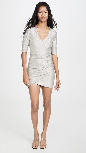alice + olivia Judy 短袖抽皱连衣裙
