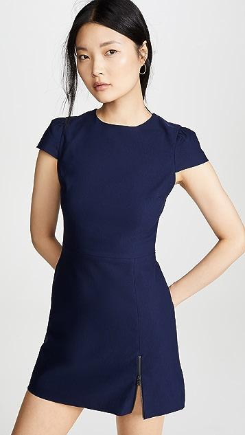 alice + olivia Maya Short Sleeve Asymmetrical Zip Mini Dress