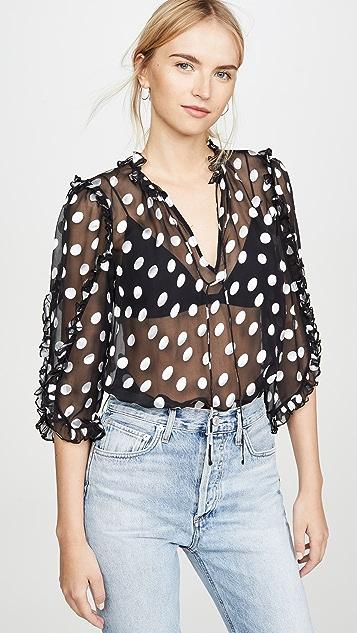 alice + olivia Julius 荷叶袖长款女式衬衫